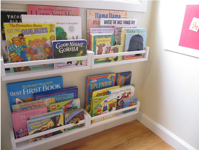Update your child's room by adding some Ikea spice rack bookshelves