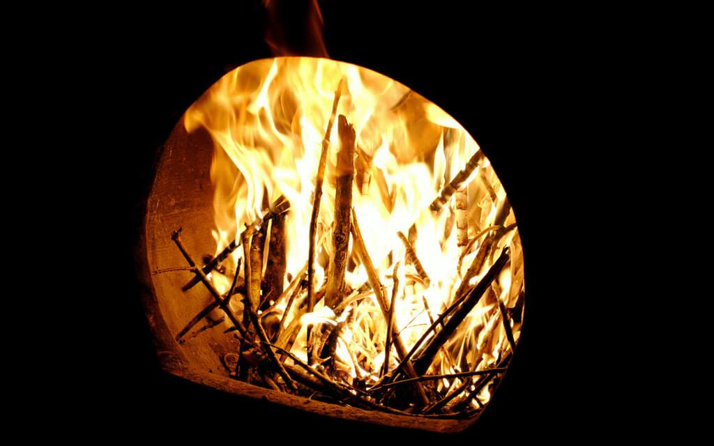 fire in a chiminea