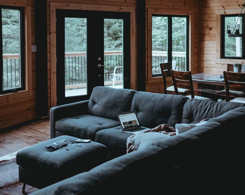 glass doors in the living room