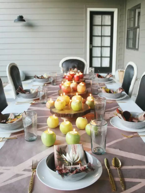 Autumn Decor apple centrepieces