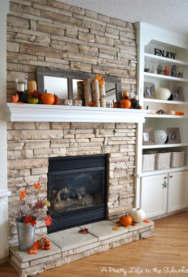 Autumn mantel decor