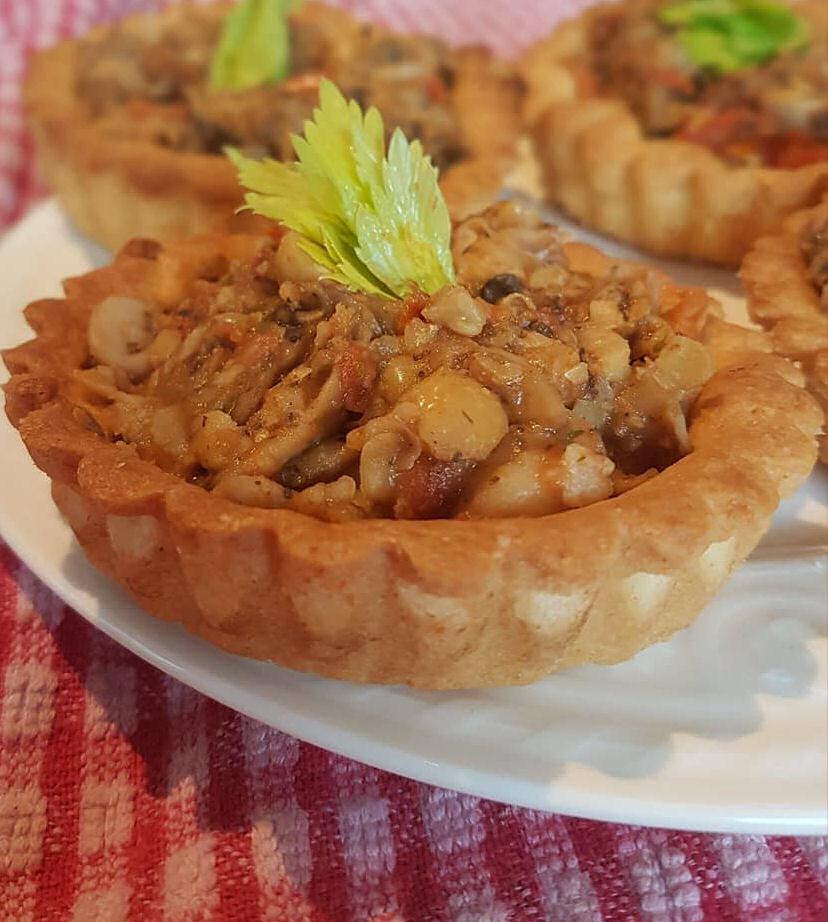 Vegan chickpea, mushroom & tomato tarts