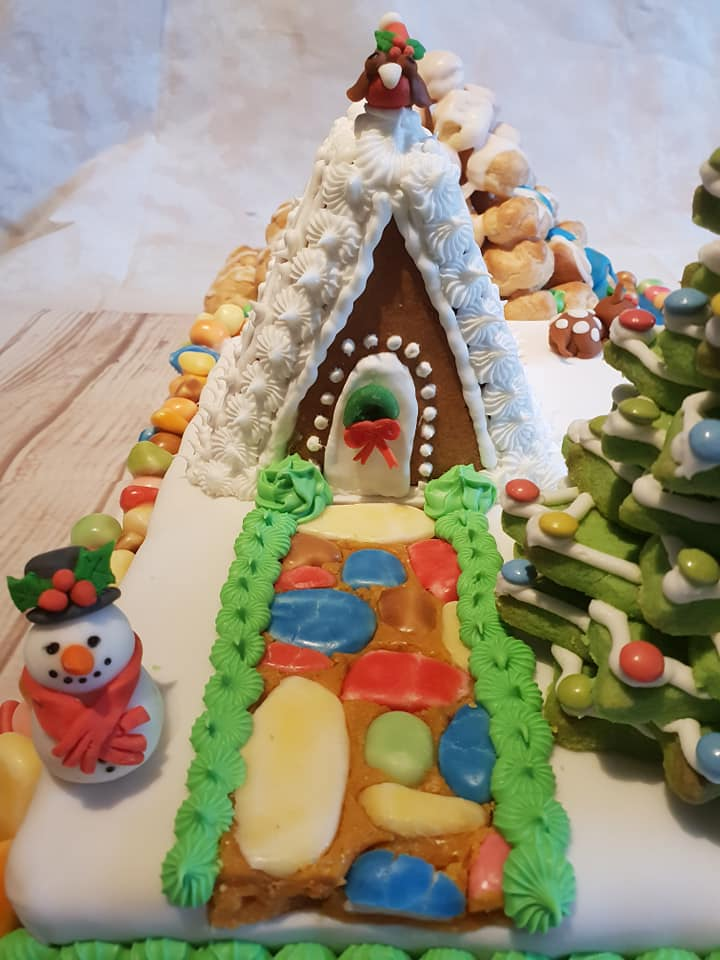 Fudge path in front of gingerbread house