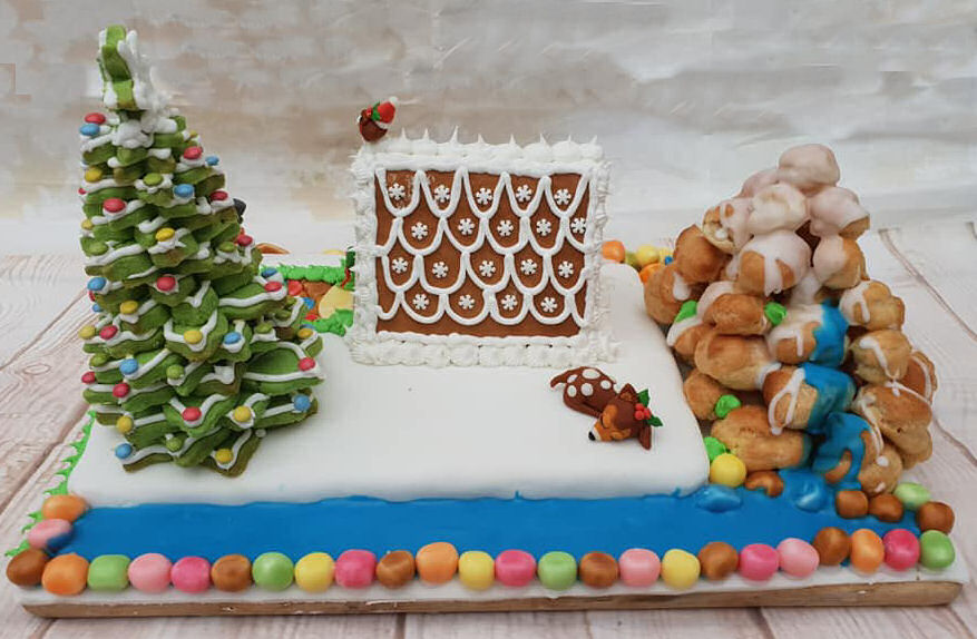 Choux pastry mountain, stream, gingerbread house and deer - all edible