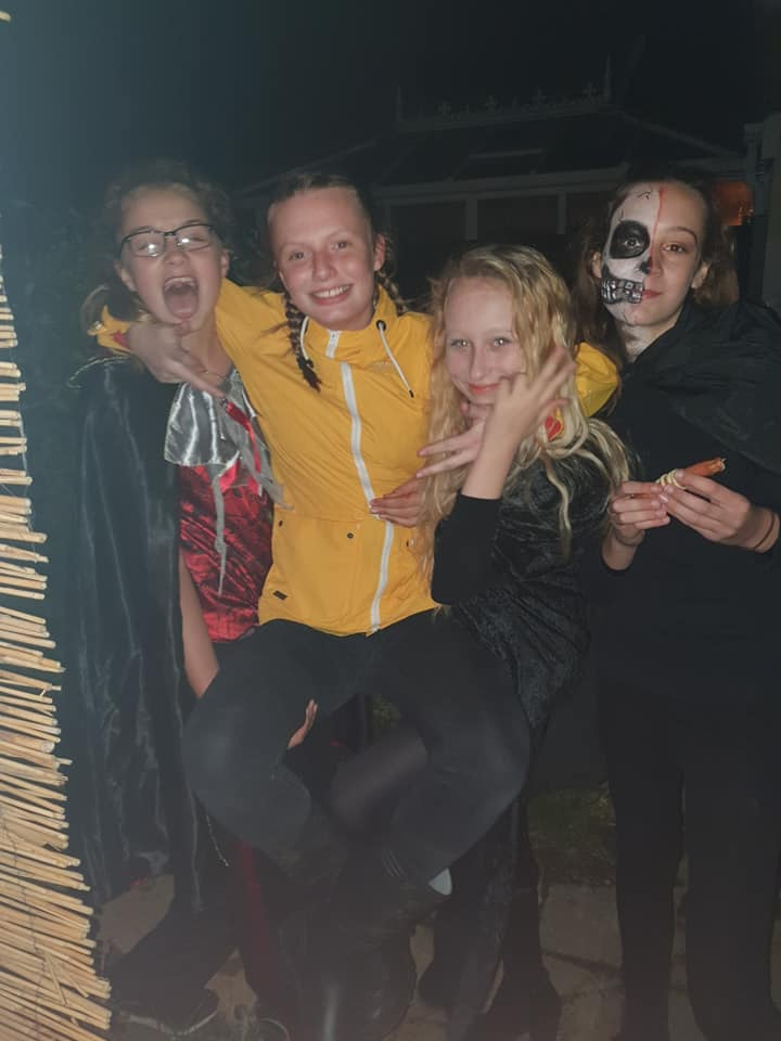 KayCee's friends at her Halloween party