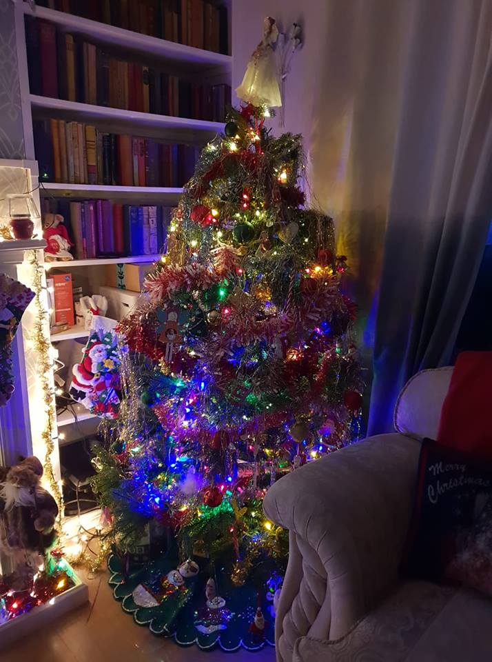 Our Christmas tree all decorated and pretty