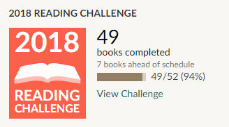 Goodreads 2018 reading challenge 49 books read