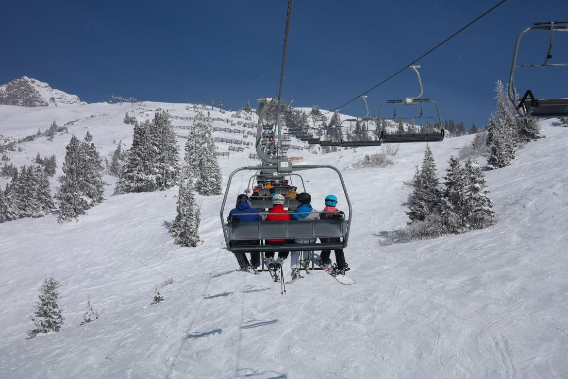 Christmas getaways for the family - people on a ski lift