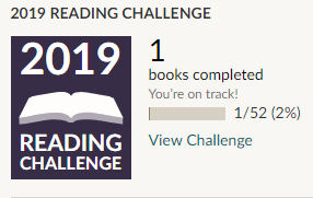 Goodreads 2019 reading challenge 1 book read