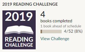 Goodreads 2019 reading challenge 4 books read