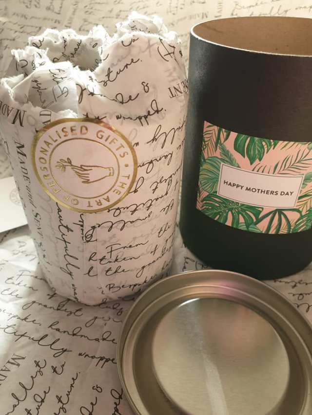 Made and Sent Mother's Day fig and pomegranate personalised candle
