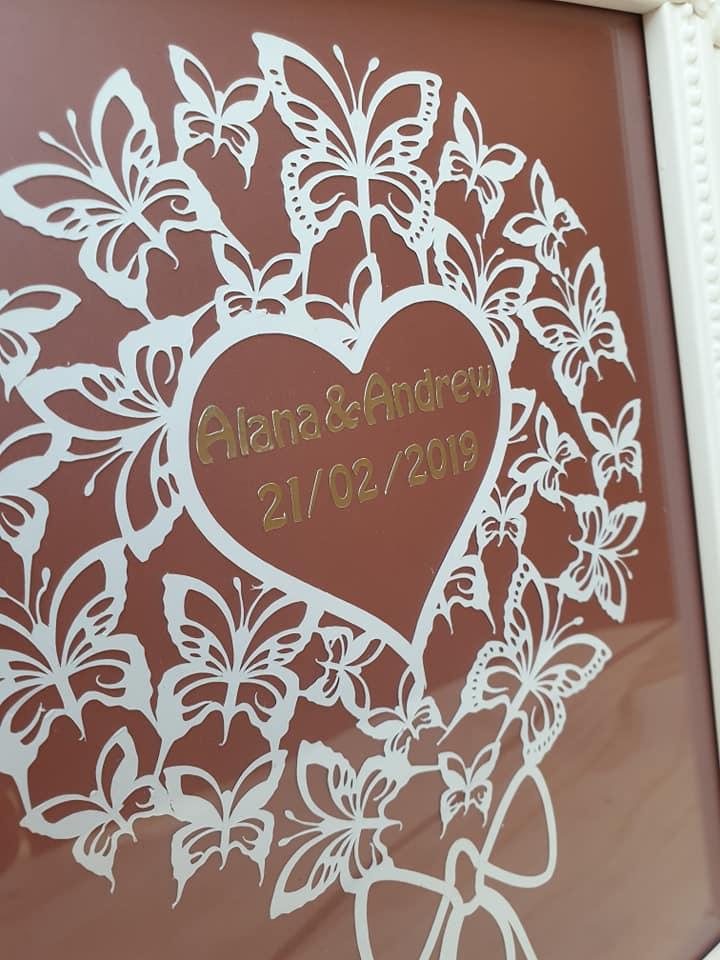 personalised wedding gift using the Cricut