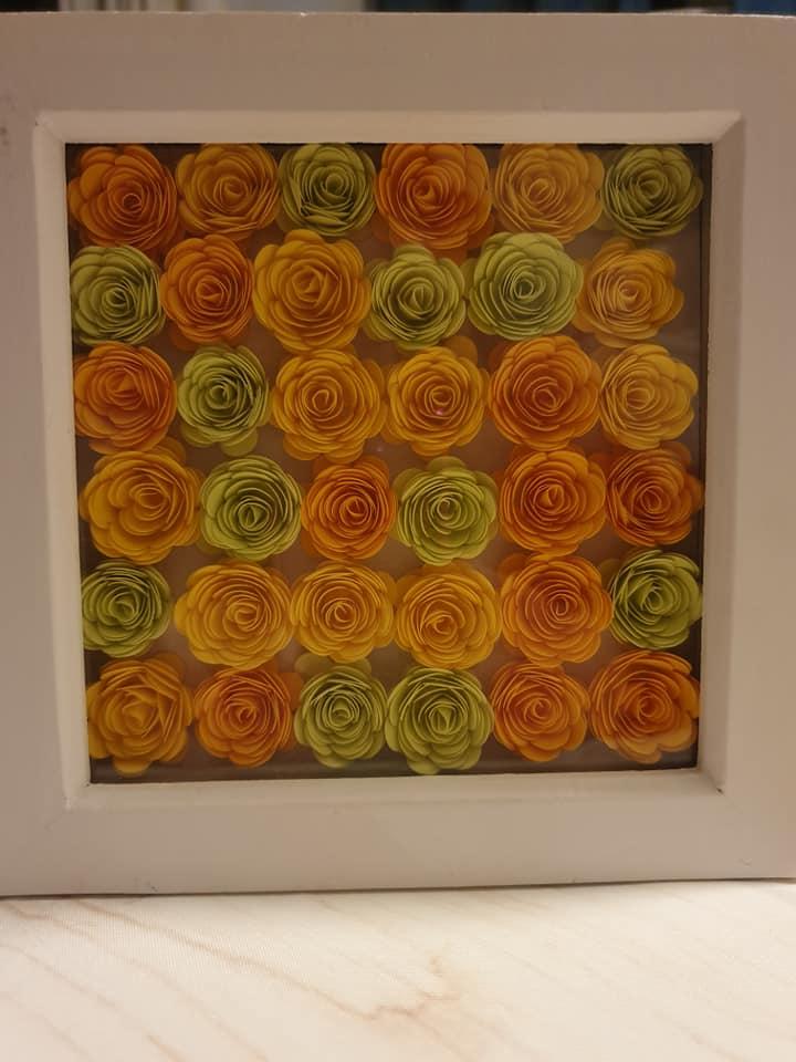 framed paper roses