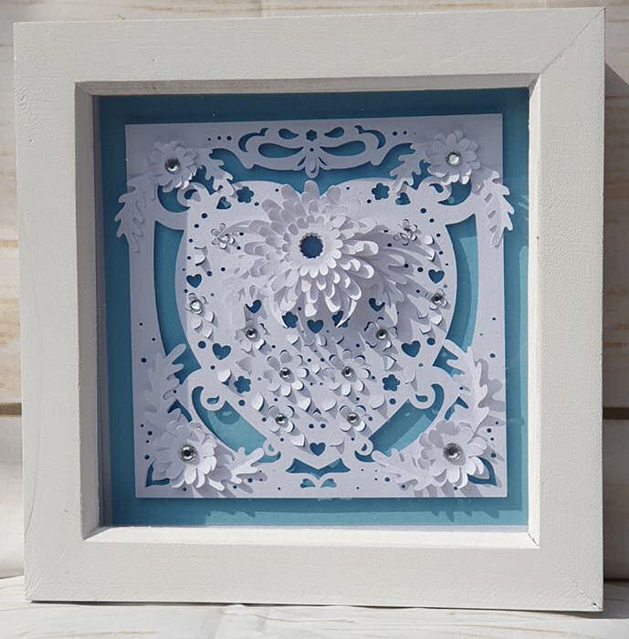 Love heart paper sculpture box frame using Dreaming Tree SVG files and the Cricut maker