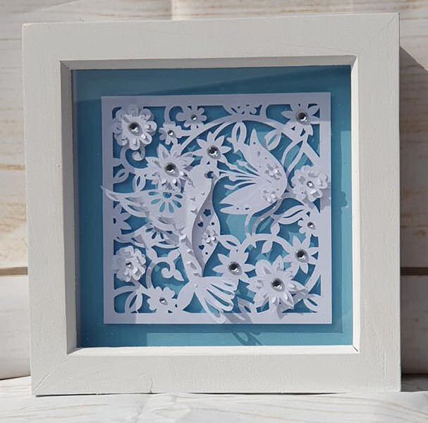 Hummingbird paper sculpture box frame using Dreaming Tree SVG files and the Cricut maker