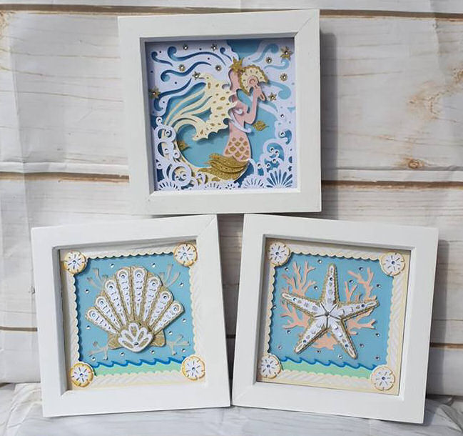 Set of three paper sculpture box frames using Dreaming Tree SVG files