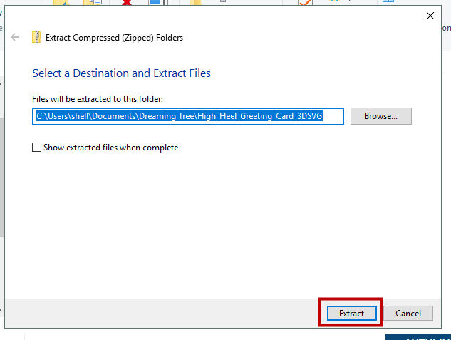 select folder to extract files