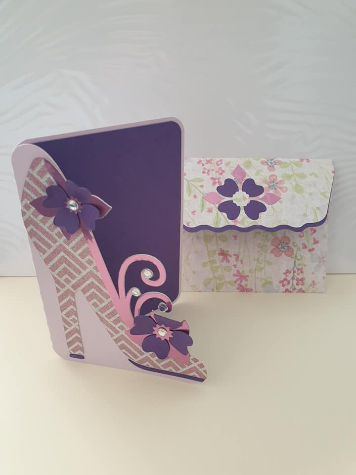 high heel greeting card - completed card and envelope