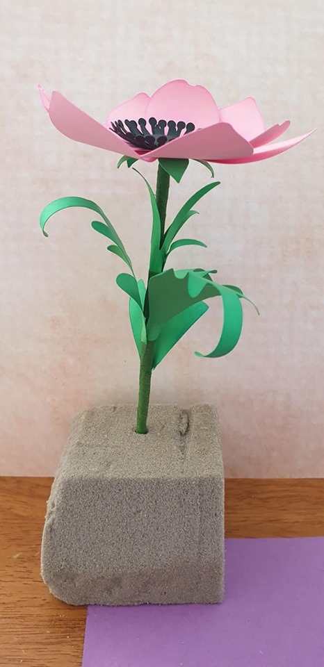 Anemone and vase tutorial - use florist's tape to attach 3 leaves to stem