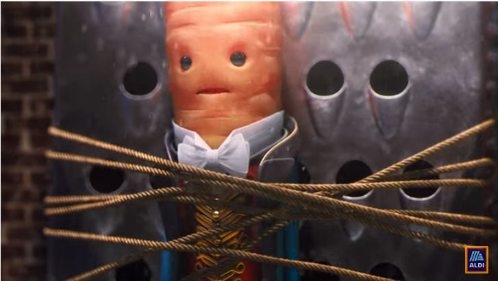 Aldi Christmas advert 2019 - Kevin the carrot tied up by the leafy blinders