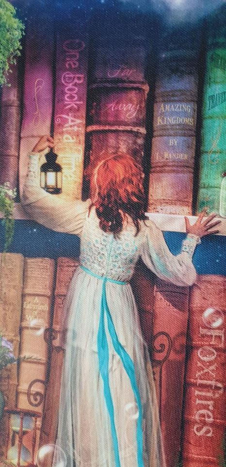 a girl holding a lantern and looking for a book on the treasure hunt bookcase canvas