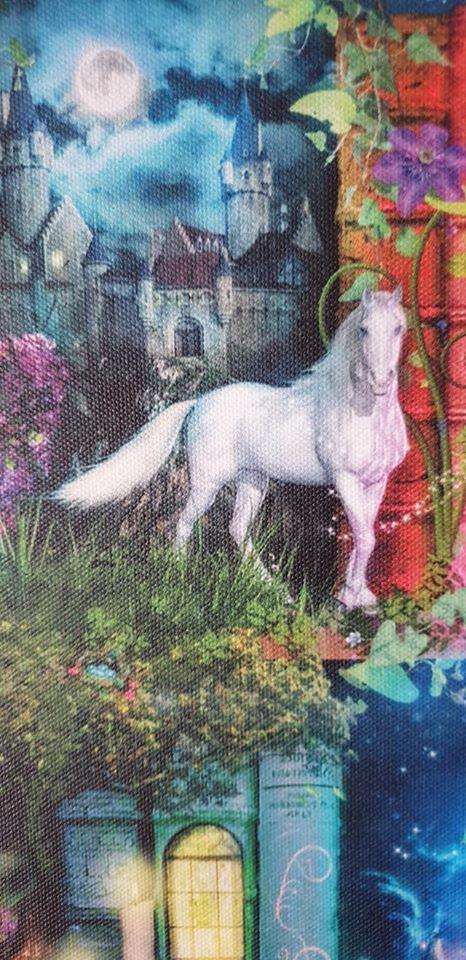 white horse on the treasure hunt bookcase canvas