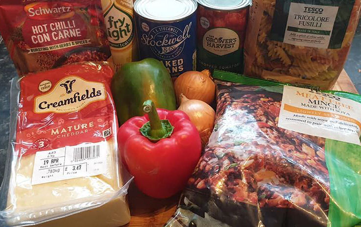 Ingredients for Schwartz hot chilli con carne pasta bake