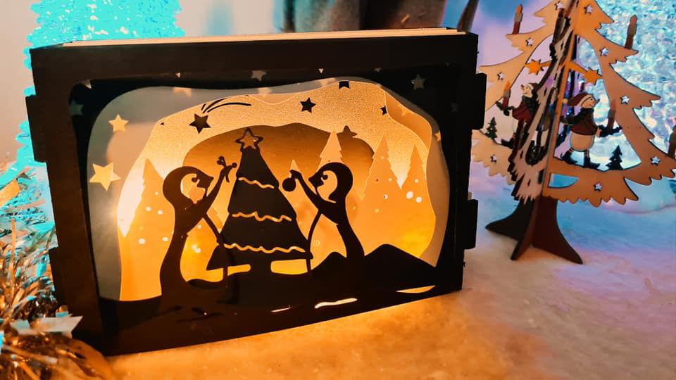 3D layered penguin scene