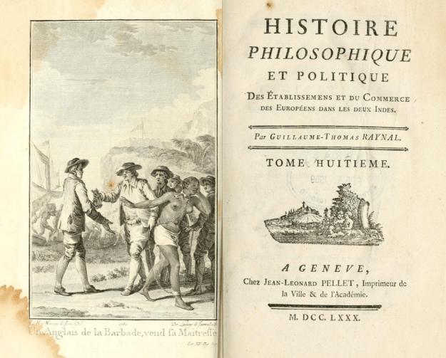 G.-T. Raynal, Histoire des deux Indes (Genève: Pellet 1780), Vol. VIII; engraving by J.-M. Moreau le Jeune