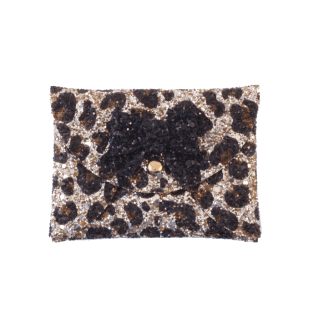 leopard glitter mini purse