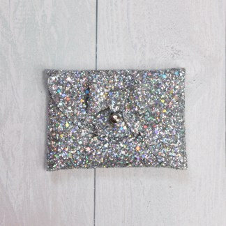 holographic silver mini purse with matching bow