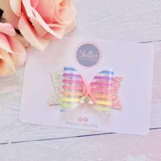rainbow transparent hair bow
