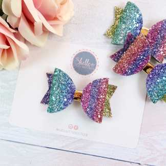 rainbow glitter hair bow