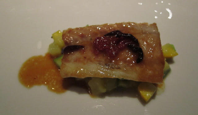 Halibut, Zucchini, Black Olives and Lobster Sauce