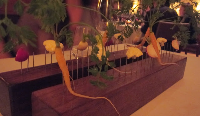 Vegetables on a fence - one of the most iconic starters at Stone Barns