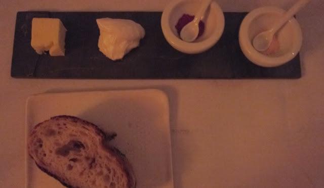 Onion Potato Bread, Blue Hill butter, Lardo, Beet Salt and Carrot Salt
