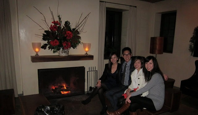 Happy by the fireplace post feast
