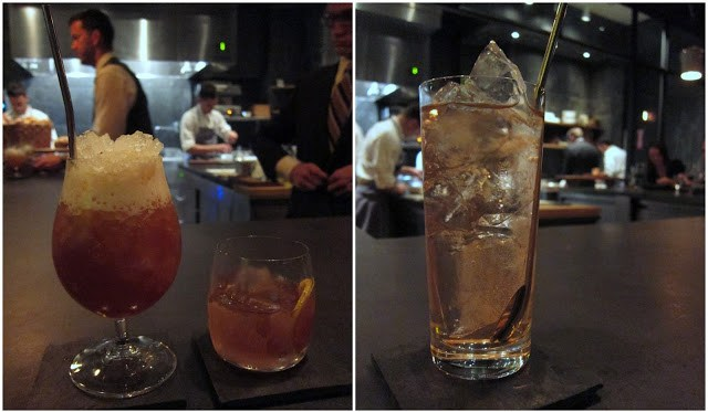 A few delicious cocktails, the English Milk Punch on the right