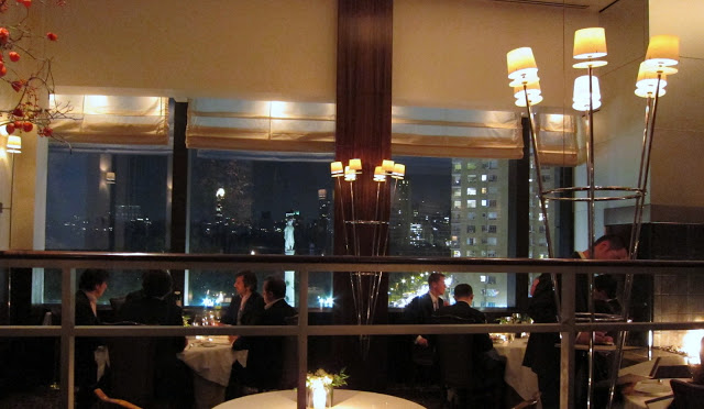 View of Columbus Circle from our table