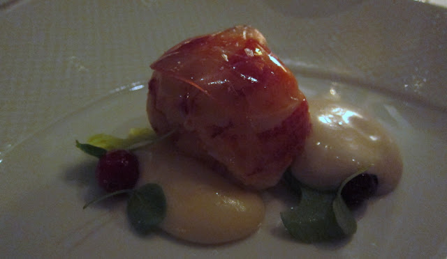 Butter Poached Nova Scotia Lobster, ParsnipPurée, Honey Poached Cranberries and Chestnut Cream
