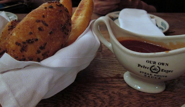 Love the onion rolls and their Signature Steak Sauce that's sweet and tangy