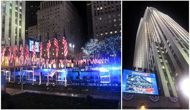 Democracy Plaza being set up at Rockefeller Center by NBC News