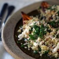 sweet potato boats with quinoa salad & tahini