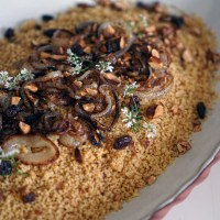 Couscous With Caramelized Onions, Toasted Almonds & Raisins