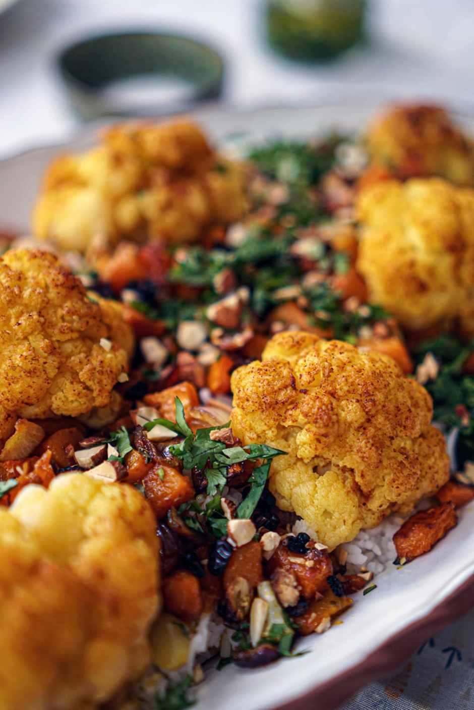 Roasted Cauliflower & Pumpkin over Basmati with Toasted Almond & Barberries