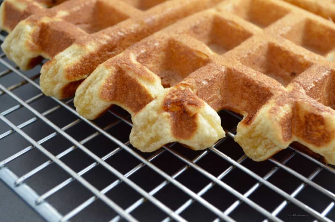 A close view of a waffle.