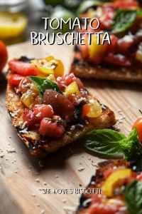 Grilled Italian bread topped with chopped tomatoes to make the best tomato bruschetta.