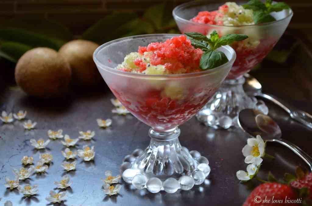 Ice Cold Strawberry Kiwi Granita