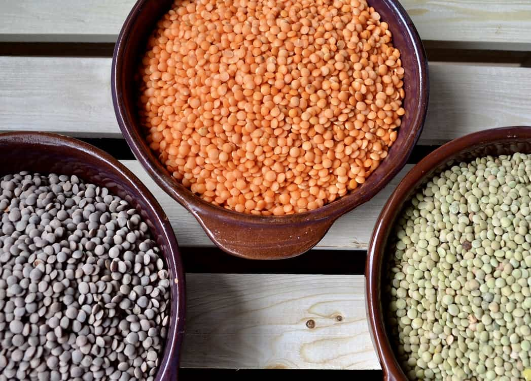Three different types of lentils in bowls.