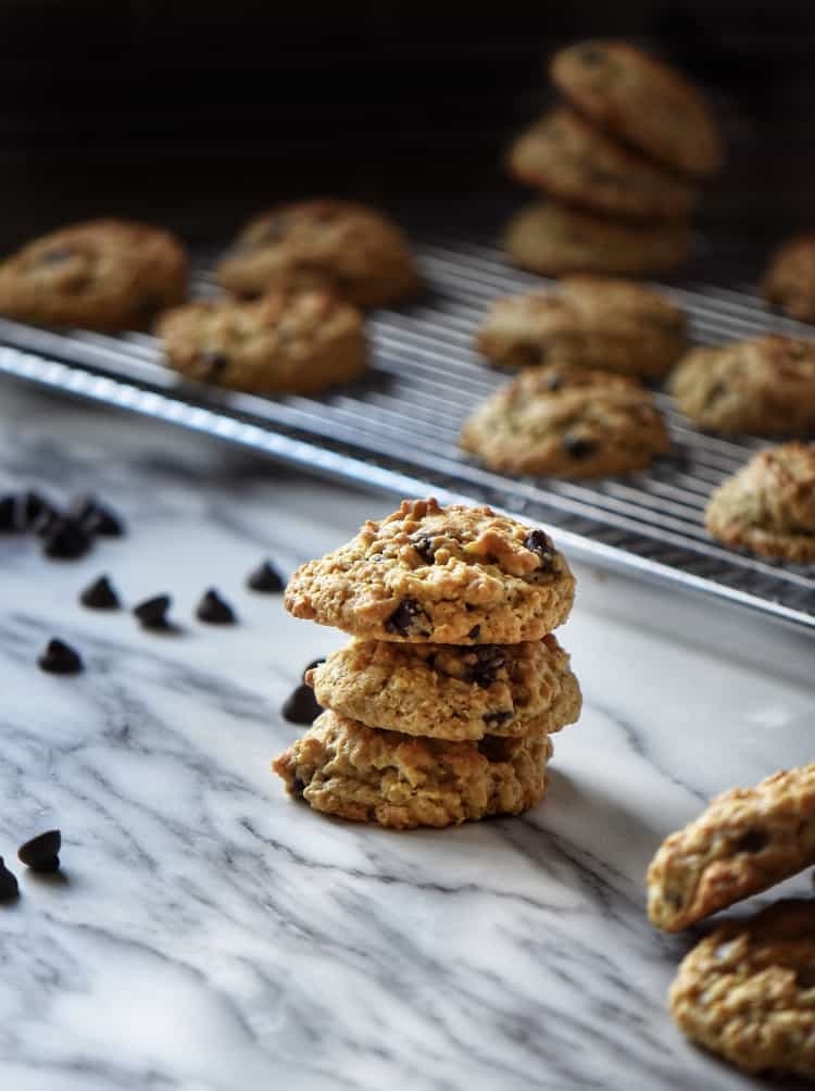 A stack of Thick and Chewy Oatmeal Chocolate Chip Cookies